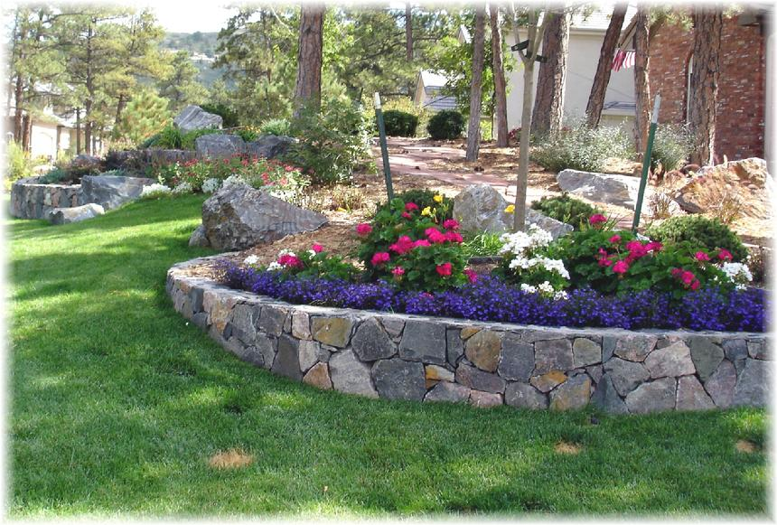 Granite Retaining Wall And Plantings